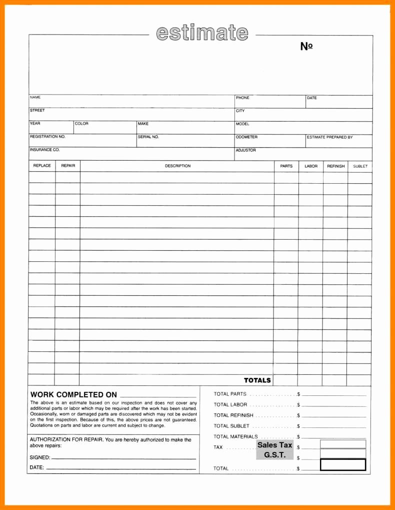 Property Repair Estimate Sheet Luxury Auto Body Repair Estimate Template