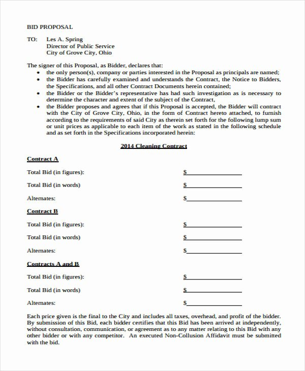 Proposal for Cleaning Services Pdf Awesome Cleaning Proposal form Sample 5 Free Documents In Word Pdf