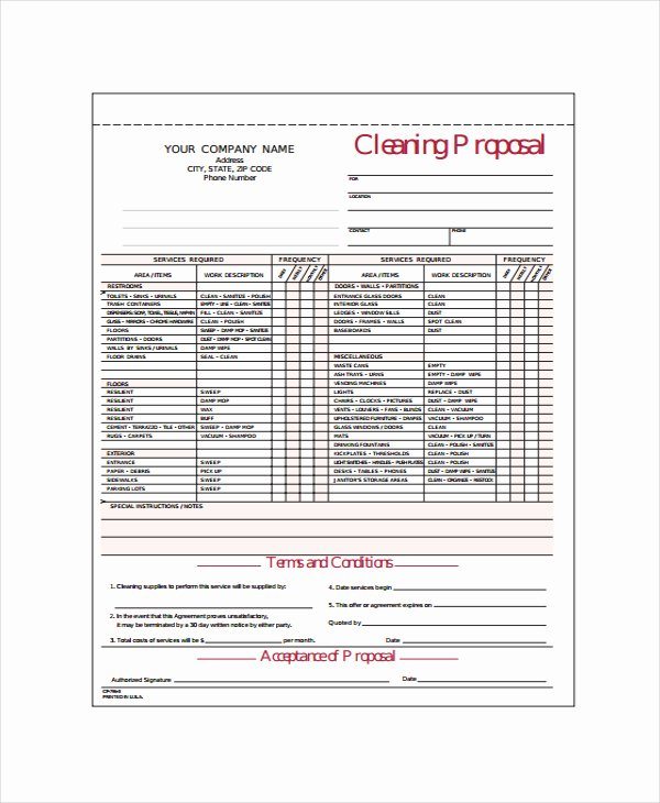 Proposal for Cleaning Services Pdf Awesome Janitorial Bid Proposal Template