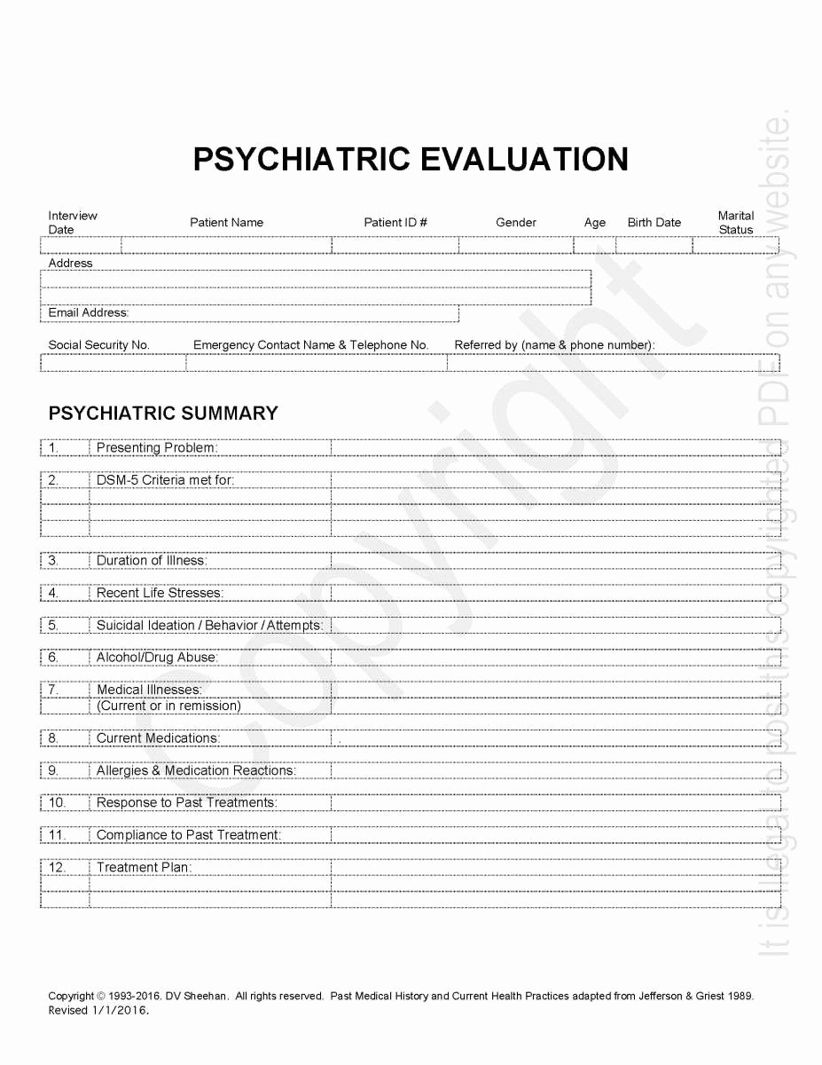 Psychiatric Progress Note Template Fresh Psychiatric History Template – Harm Research