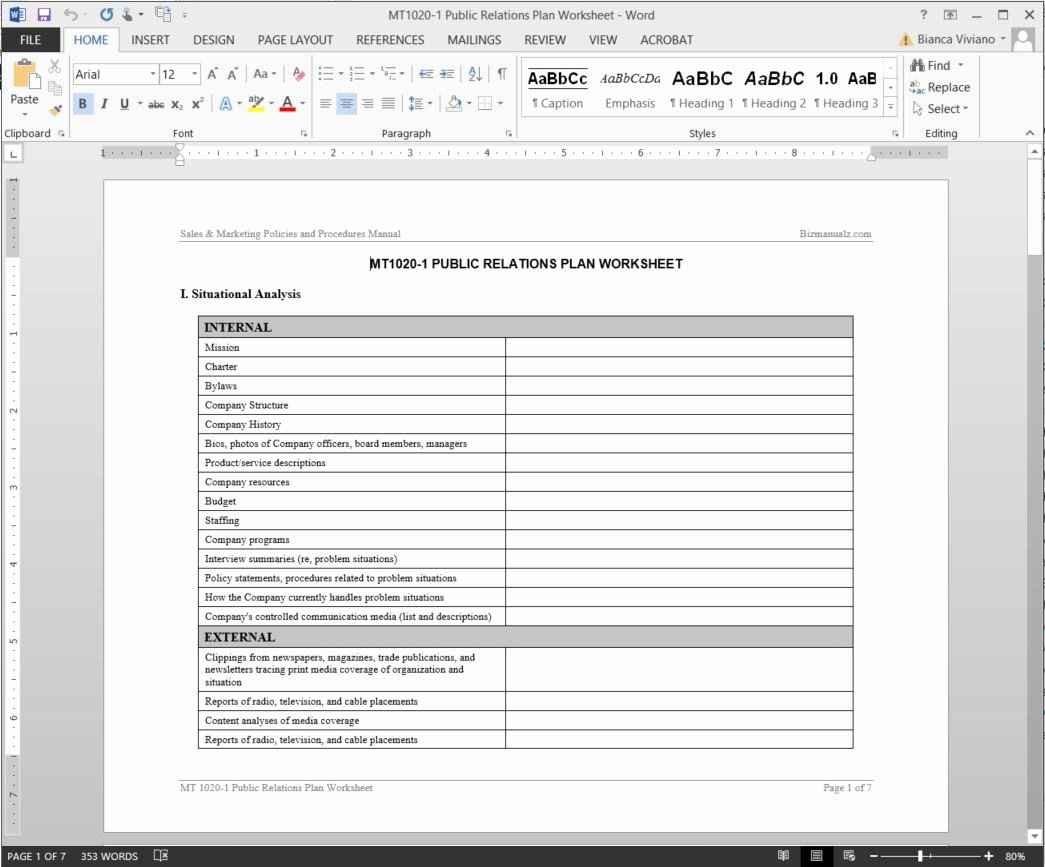 Public Relations Proposal Example Elegant Public Relations Plan Worksheet Template