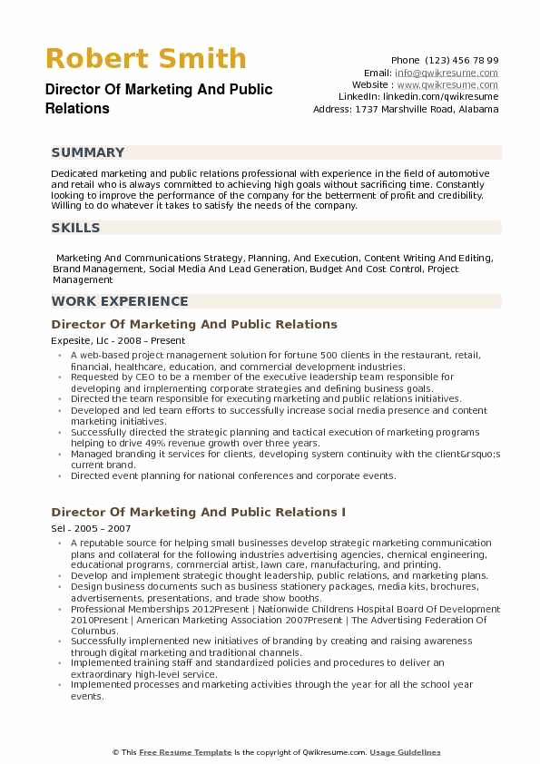 Public Relations Proposal Sample Unique Director Of Marketing and Public Relations Resume Samples