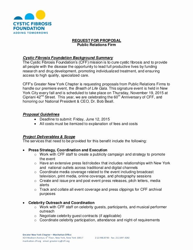 Public Relations Proposal Template Fresh Cystic Fibrosis Foundation Request for Proposal Public Relations