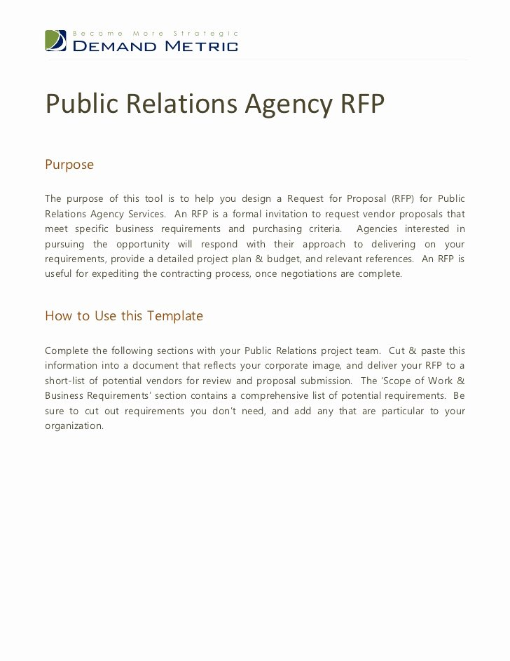 Public Relations Proposal Template Lovely Public Relations Agency Rfp