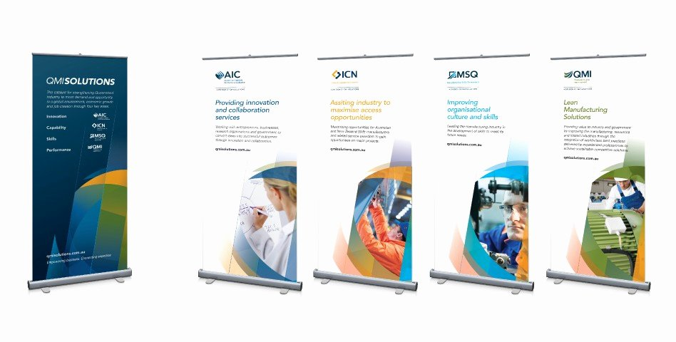 Pull Up Banners Design Elegant Qmi solutions Lloyd Grey Design