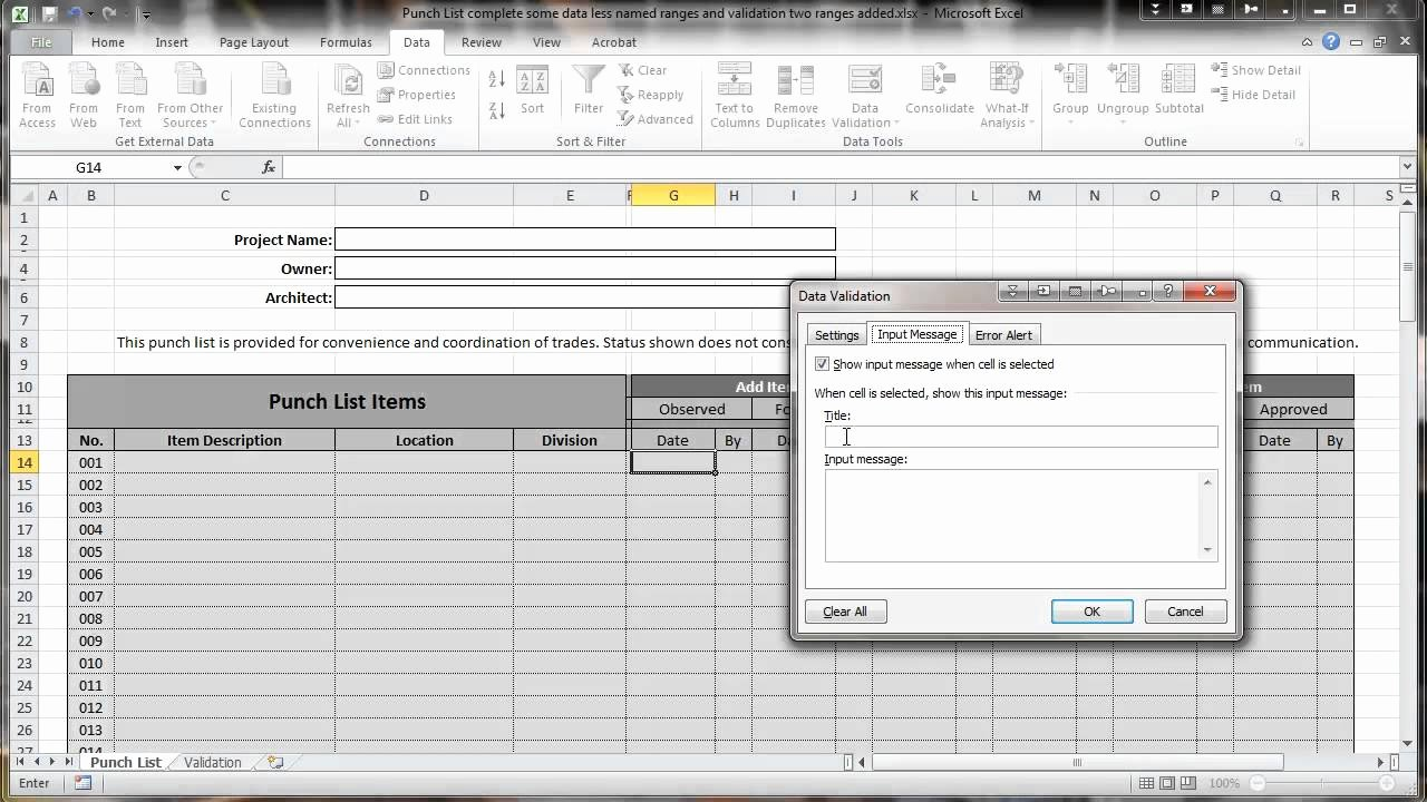 Punch List Template Excel Best Of Excel 2010 Construction Punch List Part Iv Data Validation