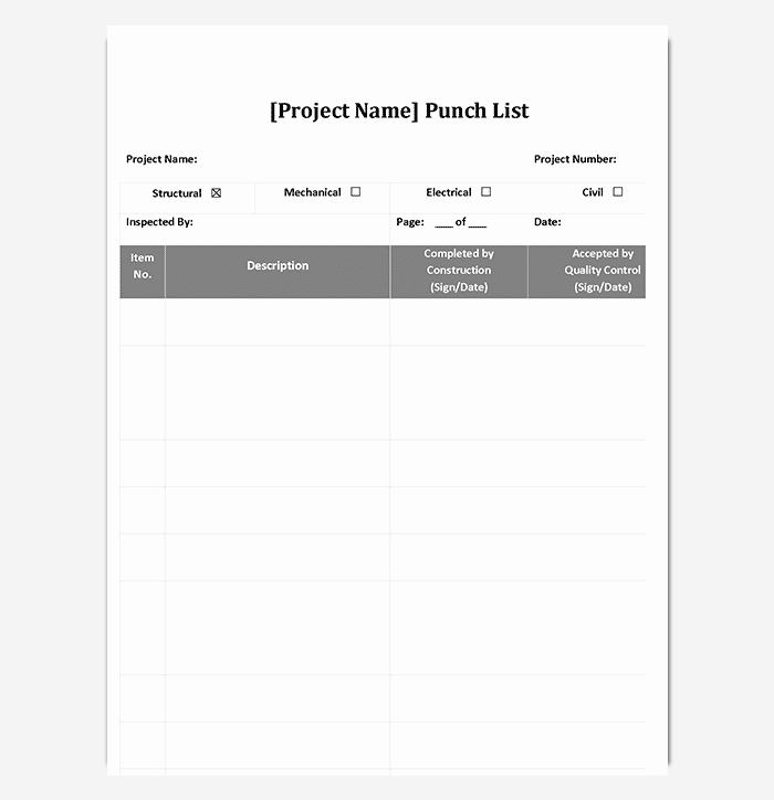 Punch List Template Excel Best Of Punch List Template 14 Word Excel Pdf format