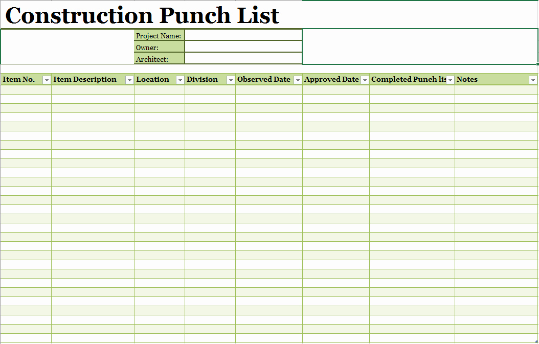 Punch List Template Excel Fresh 16 Free Construction Punch List Templates Ms Fice Documents