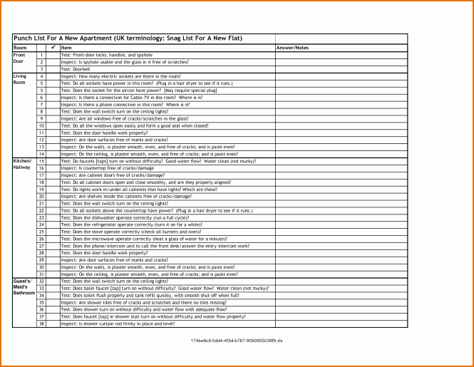 Punch List Template Excel Lovely Apartment Punch List Nice Apartement