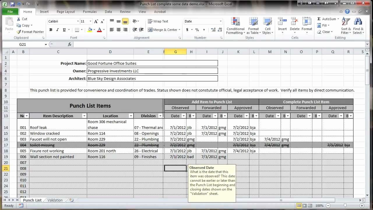 Punch List Template Excel Luxury Excel 2010 Construction Punch List Overview