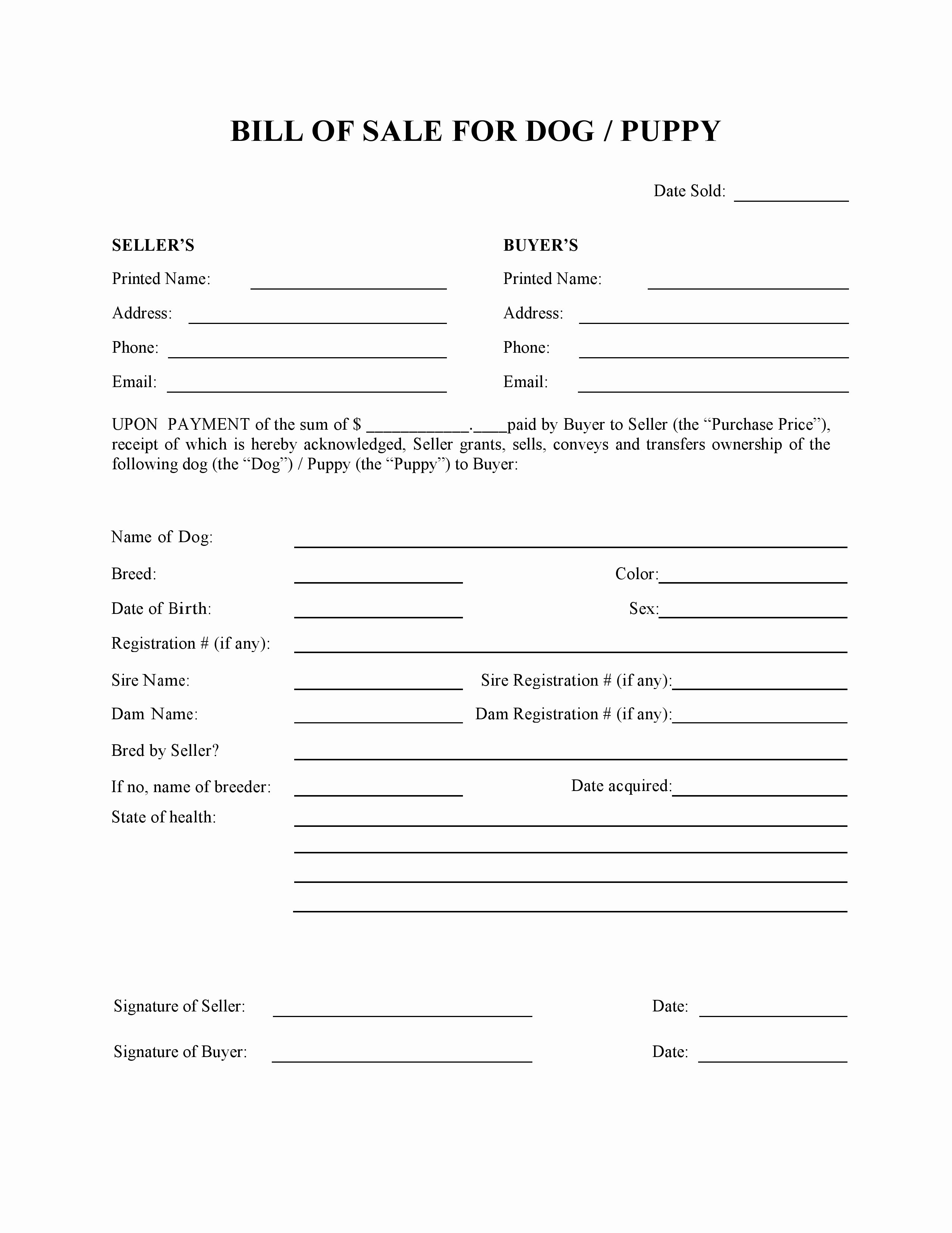 Puppy Bill Of Sale Luxury Free Dog or Puppy Bill Of Sale form Pdf Word