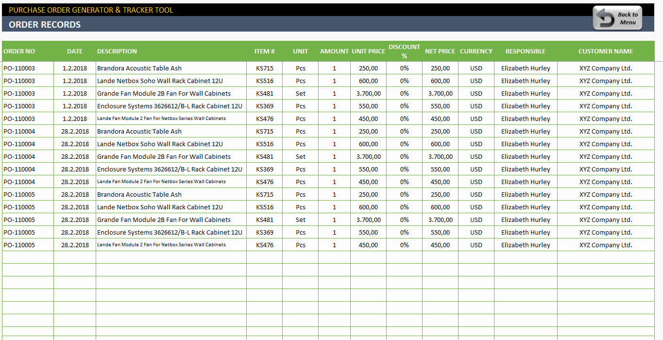 Purchase order Tracker Excel Awesome Excel Purchase order Template Ready to Download