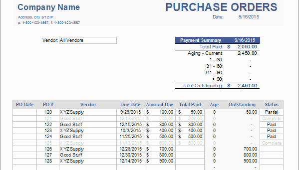 Purchase order Tracker Excel Lovely Advanced Purchase order Tracking with Accounting software Line Accounting software Reviews