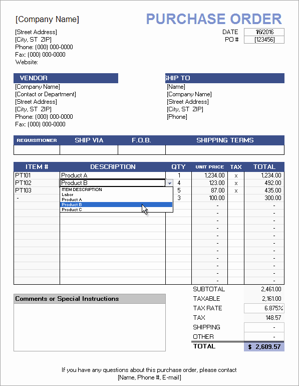 purchase order price list