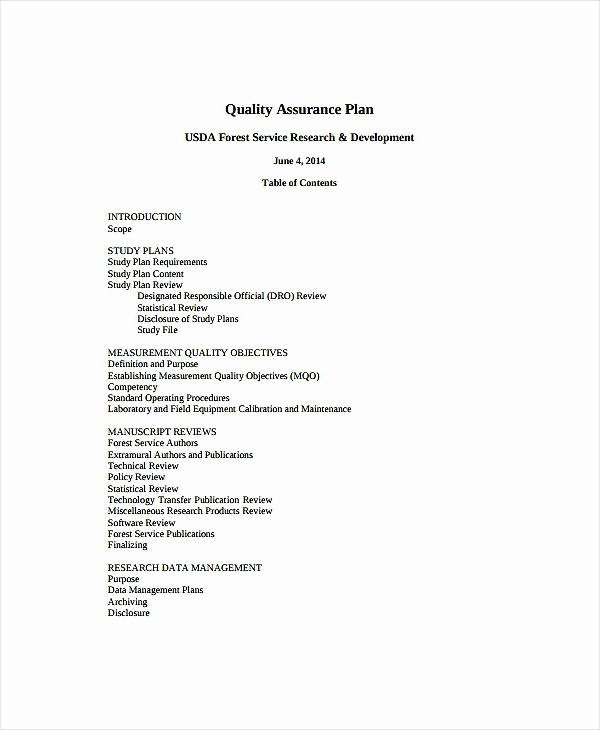 Quality assurance Plan Templates Unique 10 Laboratory Quality assurance Plan Templates Pdf Doc