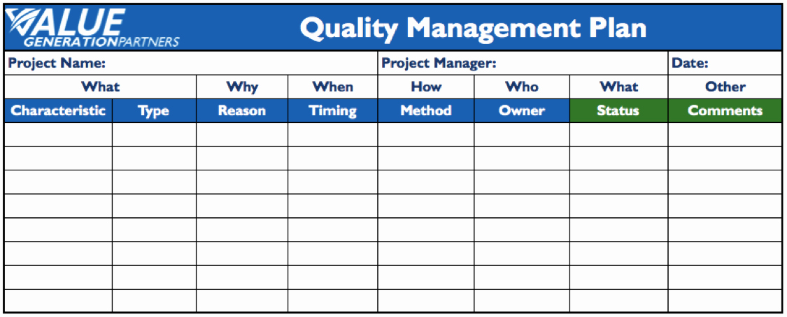 Quality assurance Plans Template Fresh Generating Value by Using A Project Quality Management Plan – Value Generation Partners Vblog