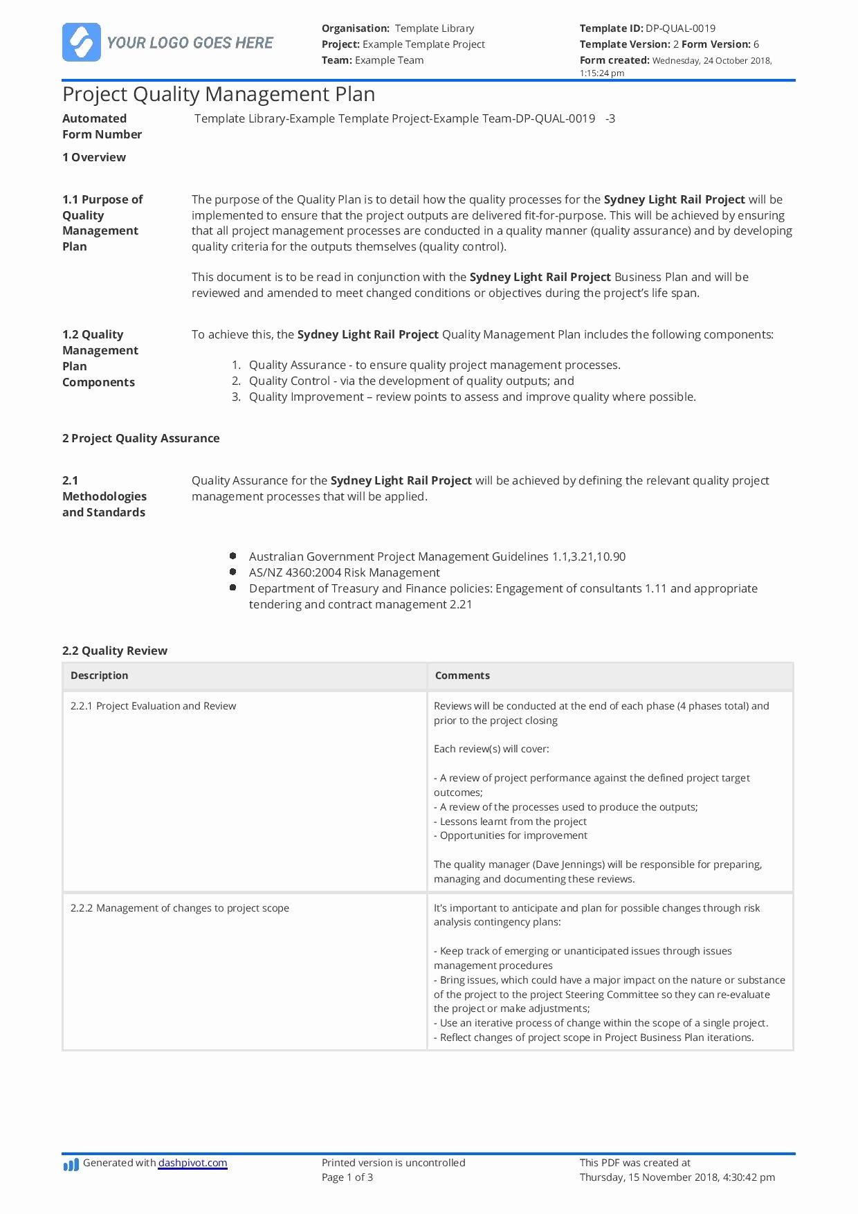 Quality assurance Plans Template Unique Quality assurance Plan for Construction [free and Customisable Template]