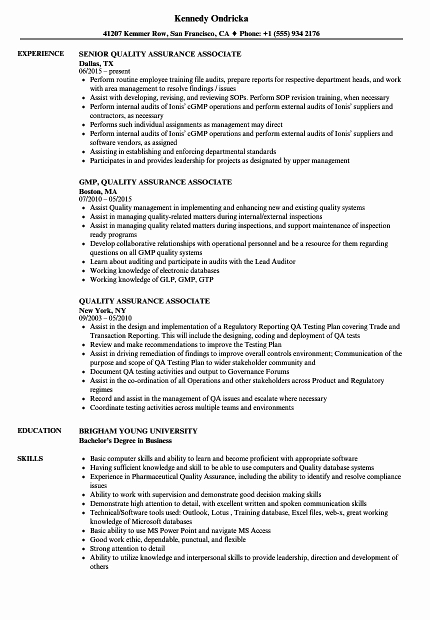 Quality assurance Reports Examples Elegant Quality assurance associate Resume Samples