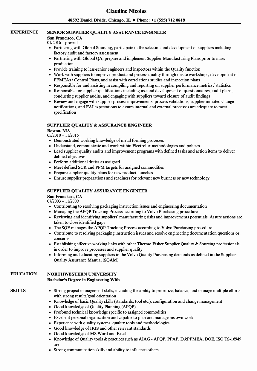 Quality assurance Reports Examples Unique Supplier Quality assurance Engineer Resume Samples
