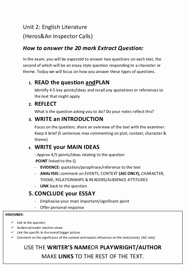 Question and Answer Template Awesome How to Answer the 20 Mark Essay Question