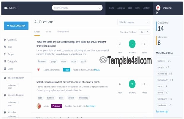 Question and Answer Template Beautiful Premium Question Answer Wordpress theme