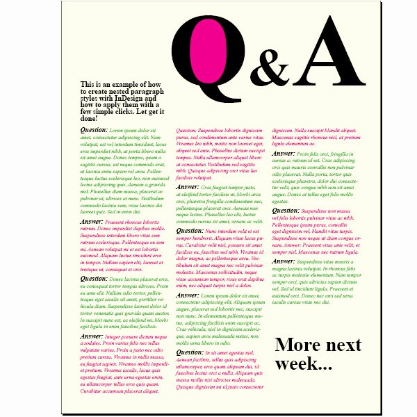creating a question and answer format with indesign nested styles vector 3419