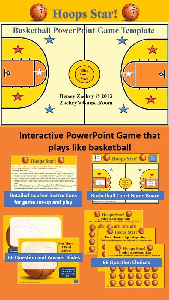 Questions and Answers Template Beautiful Hoops Star Basketball Powerpoint Game Template