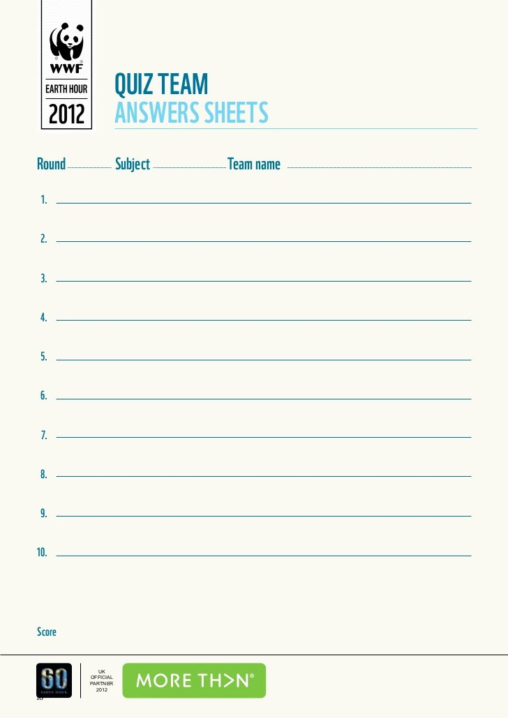 Questions and Answers Template Best Of Wwf S Earth Hour Pub Quiz