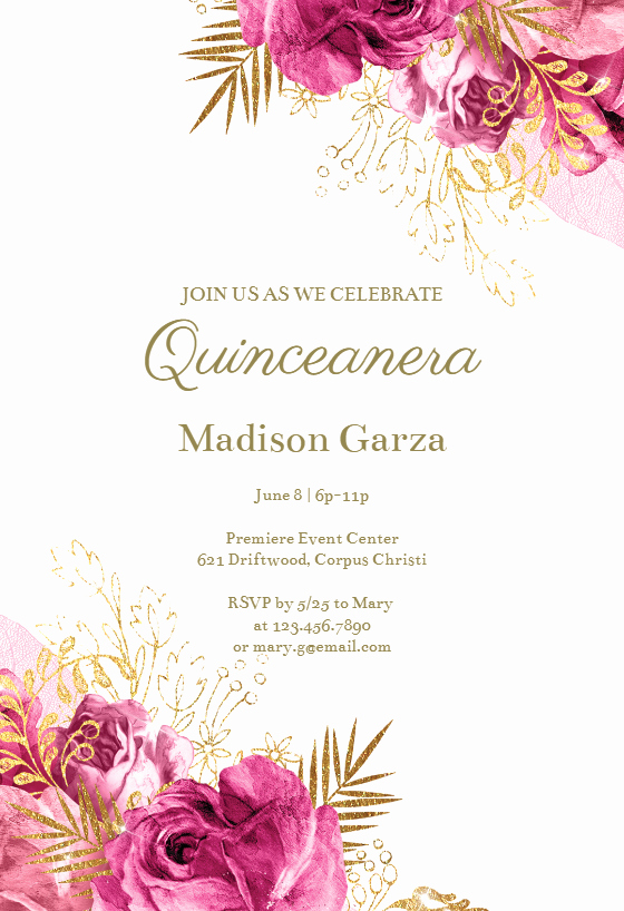 Quinceanera Invitation Templates Free Inspirational Vintage Pink and Gold Roses Quinceañera Invitation Template Free