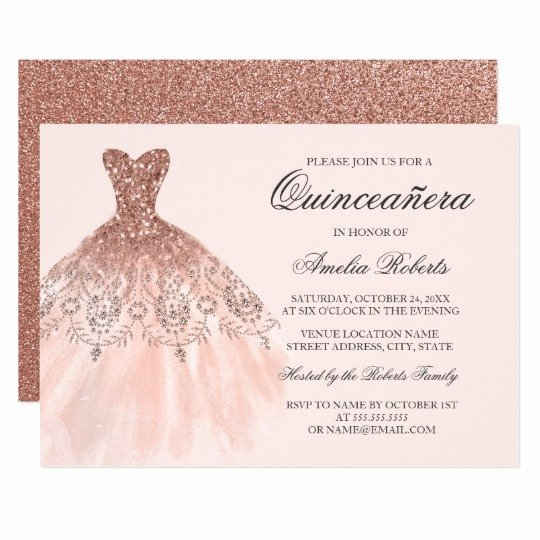 Quinceanera Invitation Templates Free New Rose Gold Sparkle Dress Quinceanera Invitation