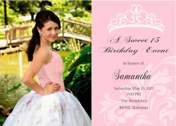 Quinceanera Invitation Templates Free Unique Sweet 16 or Quinceanera Invitation Printable Double by Cecydesigns