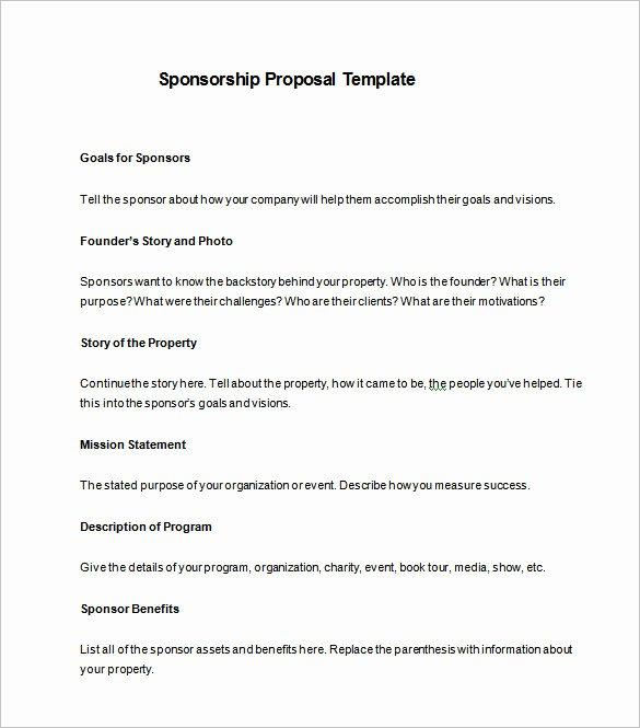 Race Car Sponsorship Packages Fresh Sponsorship Proposal Template 12 Free Word Pdf format