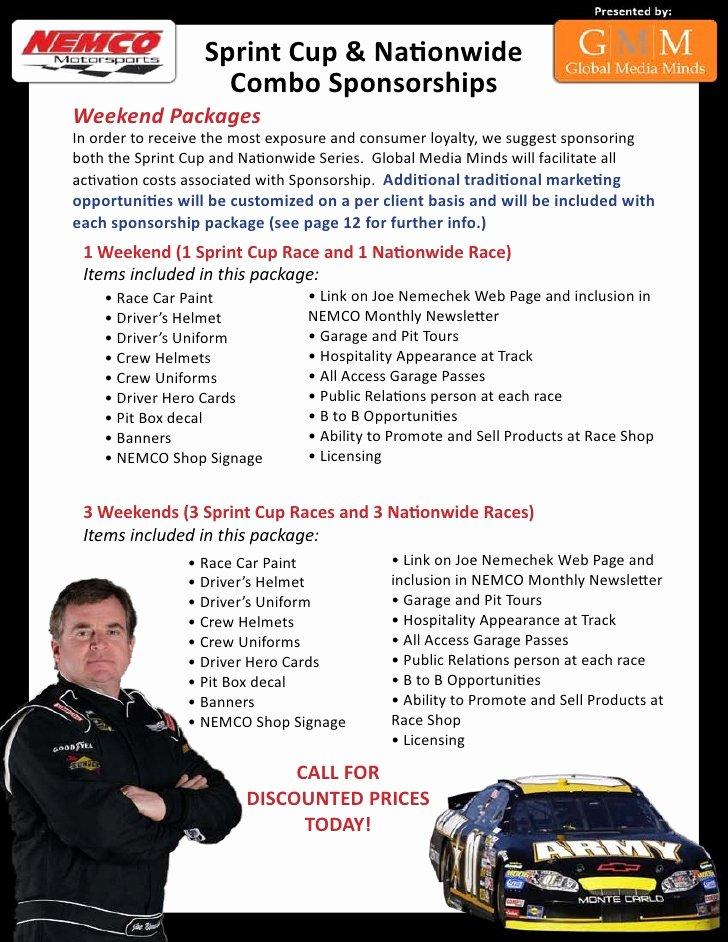Race Car Sponsorship Packages Luxury Nascar Sponsorship Package
