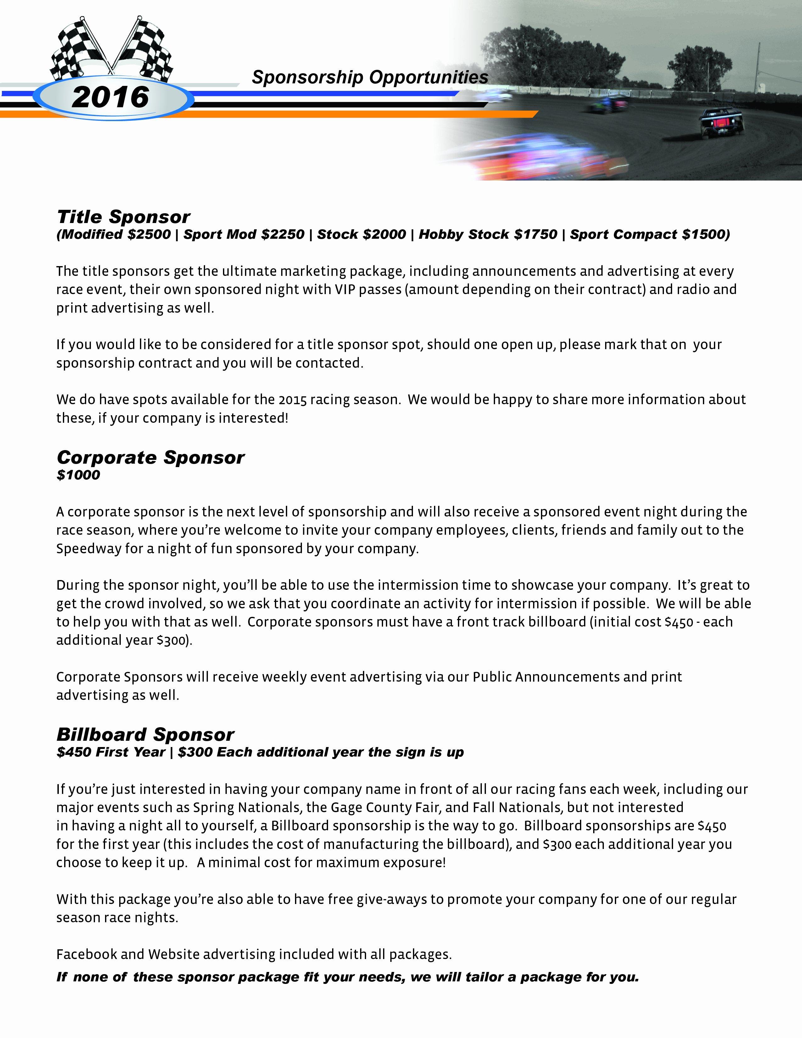 Race Car Sponsorship Packages Unique Sponsorship Beatrice Speedway