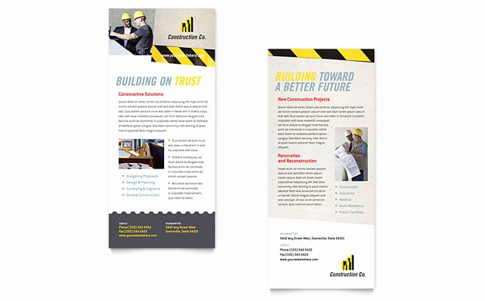 Rack Card Template Indesign Awesome Industrial & Mercial Construction Rack Card Template Design