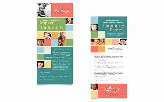 Rack Card Template Indesign Elegant Non Profit association for Children Rack Card Template Design