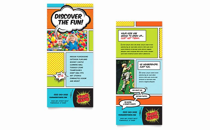 Rack Card Template Indesign New Kids Club Rack Card Template Design