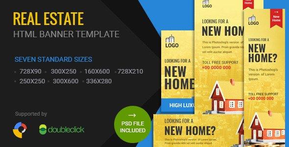 Real Estate Banner Ads Inspirational Real Estate HTML5 Google Banner Ad 01 by 0effortthemes