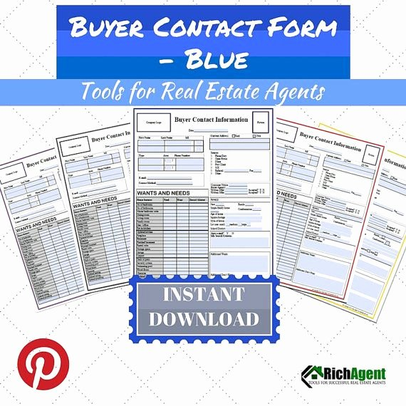 Real Estate Client Information Sheet Unique Buyer Contact form Blue Real Estate forms