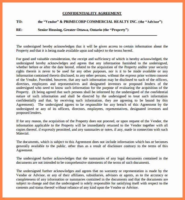 6 real estate confidentiality agreement template