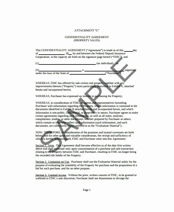 Real Estate Confidentiality Agreement Elegant 10 Real Estate Confidentiality Agreement Templates Pdf Doc
