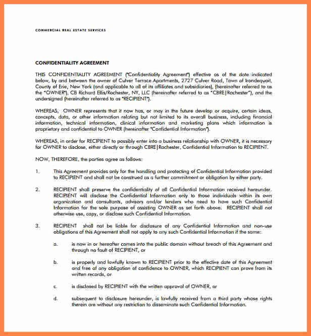 Real Estate Confidentiality Agreement Elegant 6 Real Estate Confidentiality Agreement Template