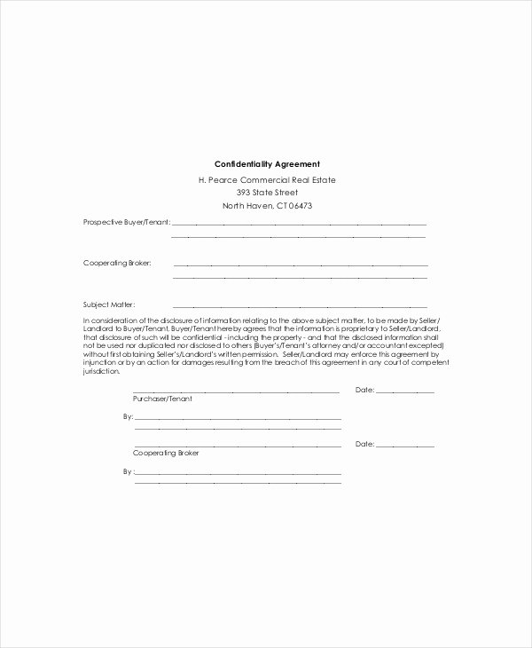 Real Estate Confidentiality Agreement Lovely 12 Real Estate Confidentiality Agreement Templates Free Sample Example format Download