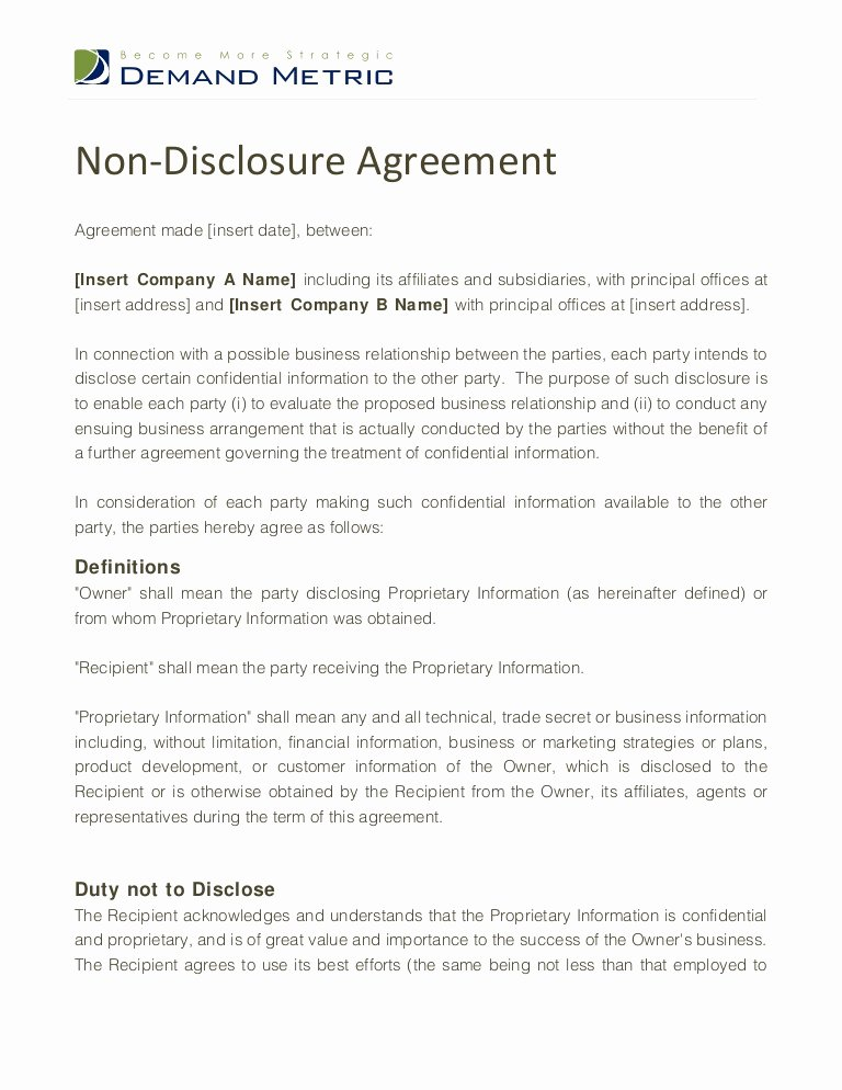 Real Estate Confidentiality Agreement Lovely Non Disclosure Agreement Template