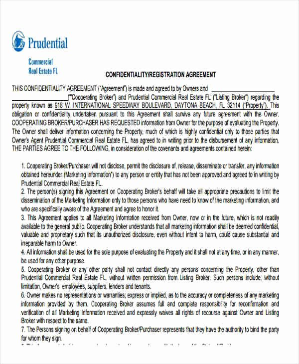 Real Estate Confidentiality Agreement Luxury 6 Sample Real Estate Confidentiality Agreements Free Sample Example format Download