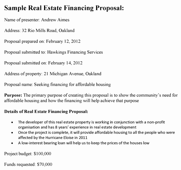 Real Estate Development Proposal New Real Estate Financing Proposal Template