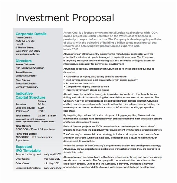 Real Estate Investment Proposal Template Best Of Sample Investment Proposal 24 Documents In Pdf Word