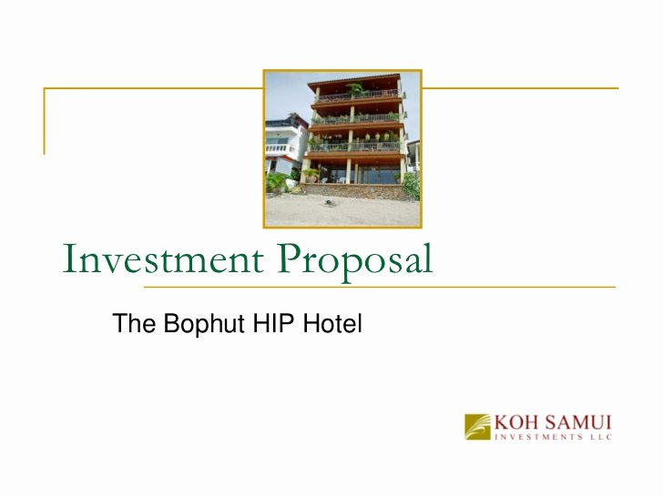 Real Estate Investment Proposal Template Luxury Copy Investment Proposal the Bophut Building Boutique Hotel