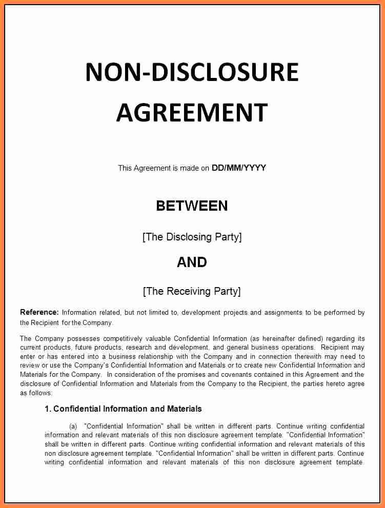 Real Estate Non Disclosure Agreement Awesome 7 Generic Non Disclosure Agreement Template