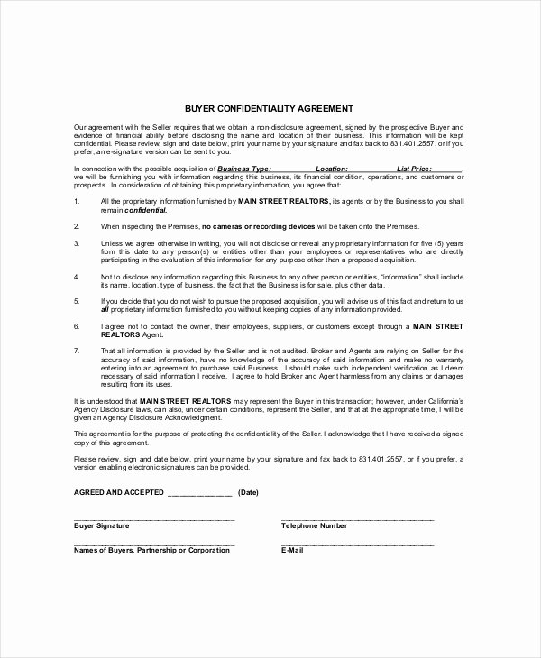 Real Estate Non Disclosure Agreement Best Of 12 Real Estate Confidentiality Agreement Templates Free Sample Example format Download